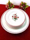 <フランス製>華やかなバラとカーネーション♪直径31.8cmの大皿とブレッドプレートのセット「7枚組」