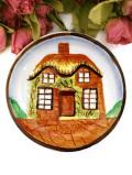 <YE OLDE COTTAGE>英国カントリーコテージ♪たくさんのお花に囲まれた可愛い絵皿「スタンド付」
