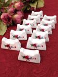 <英国ビンテージ>愛らしいお花たち♪とても珍しい陶器細工のカトラリーレスト「12個:お箱付」