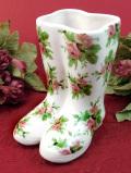 <Marks & Spencer>ピンク色のたくさんのバラたち♪お花模様が楽しい長靴のフラワーベース