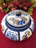 1930年代:英国ブルー&ホワイト♪金彩も美しいまあるくて大きなポーセリンBOX