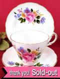 <REGENCY>イングリッシュガーデンに咲くお花たち♪金彩も美しいお花たちのトリオ「専用スタンド付」