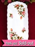 <英国ビンテージ>ピンクと白のオールドローズ♪ロマンチックな細長いお皿