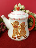<英国ビンテージ>ジンジャーブレッドの男の子と女の子♪可愛い陶器細工のとても大きなティーポット