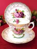 <英国ビンテージ>バラのお花のブーケ♪たっぷりとした22金の金彩も美しいトリオ