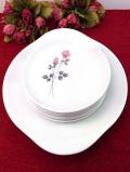 <ROYAL DOULTON>ピンク色のオールドローズ♪「PILLAR ROSE」上品で優雅なバラのお花のプレートセット「7枚組」