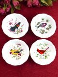 <ROYAL CAULDON>英国の愛らしい野鳥さん♪素晴らしいアートの野鳥さんの絵皿「4枚セット:お箱付」