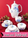 <Adderley>「Cornflower」♪水色のコーンフラワーが美しい貴重なティーフォーツー「7点組」