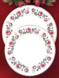 <MAYFAIR>1950年代:ピンクのモスローズのお花たち♪直径27.5cmの大皿と直径23.7cmの深皿「2枚セット」