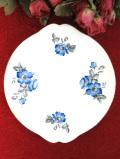 <英国ビンテージ>青いバラのお花たち♪金彩もきれいで大きなサンドイッチプレート