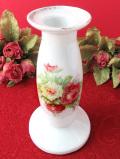 1950年代:優雅なバラのお花たち♪やわらかいフォルムの陶器のキャンドルスタンド「キャンドル付き」