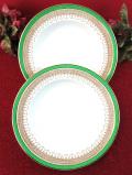 <CLAREMONT>緑と茶色と金色の模様が上品な大きなスープディッシュ「2枚セット」