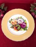 <ロイヤルスタッフォード>華やかなバラのブーケ♪きれいなマスタード色の珍しい陶器のコンポート