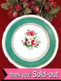 1920年代:優雅なバラのお花のブーケ♪緑の帯がきれいな陶器のアンティークのコンポート