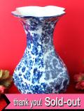 <RINGTONS>1920年代:英国老舗の紅茶メーカー「リントンズ」♪クラシカルなブルー&ホワイト♪が優雅なとても大きなフラワーベース
