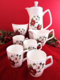 <クラウンフォード>英国カントリーサイドのオールドローズ♪華やかな野バラのコーヒーセット「7点組」