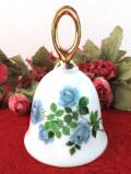 <英国ビンテージ>神秘的な青いバラのお花たち♪金彩も優雅な陶器のベル