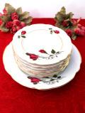 <ポーランド製>可憐なバラのお花たち♪金彩も豪華なプレートセット「7枚組」