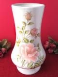 ★★<melbaware>美しいサーモンピンクのバラ♪ぽったりと分厚いとても大きな陶器のフラワーベース