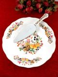 <エインズレイ:デッドストック>「SOMERSET」♪英国の野の花とブラックベリーが優雅な大きなケーキプレート&ケーキサーバー「お箱&パンフレット付」