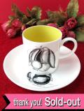 <廃盤レア♪スージー・クーパー>レア♪1958年:エッチング技法のフルーツたちのカップ&ソーサー「スタンド付」