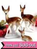 <英国ミッドセンチュリー>愛らしい森の鹿さん♪親子の鹿の陶器のフィギュア「3個セット」