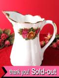 <英国ミッドセンチュリー>優雅なバラのお花たち♪金彩も輝くとても大きなウォータージャグ