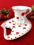 <The Leonardo Collection上品な英国の赤いポピーのお花♪珍しいフォルムのテニスセット