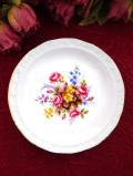 <ロイヤル・アルバート>優雅な薔薇のブーケ♪金彩も美しいスモールプレート「スタンド付き」