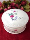 <st.Michael>英国ミッドセンチュリー♪優雅なお花が咲いたしっかりとした陶磁器の大きなパウダーBOX