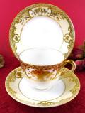 <オールドノリタケ>1908~26年:豪華なお花たち♪とても貴重な金盛りのトリオ「専用スタンド付」