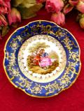 <フランス製:Limoges>憧れのリモージュ♪ガーデンの恋人たちの豪華な金彩の飾り皿「壁掛けプレートハンガー付」