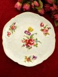 <ドイツ製:BAVARIA>バラとアイリスとチューリップとデイジーのブーケ♪ロマンチックな金彩の飾り皿「スタンド付」