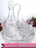 1950年代:シルバープレートのすかし細工が美しい♪豪華な英国ビンテージのデカンタ&グラス「7点セット」