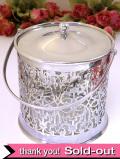 1930年代:優雅な透かし細工の銀細工♪透明なアンティークガラスとシルバープレートのアイスペール