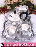 <英国銀器>1940年代:「VINERS」優雅なお花たちの銀細工が美しいティーセット「5点セット」