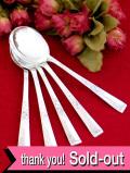 <英国銀器>1930年代:バラのお花の銀細工♪シルバープレートの豪華なスープスプーンセット「5本セット」
