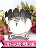 <VINERS>1940年代:大きなスイレンのお花のよう♪アンティークガラスが美しいシルバープレートのアレンジメントボウル
