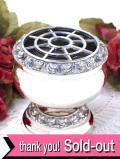 <英国銀器>1940年代:立体的なお花たちの銀細工♪シルバープレートのアレンジメントボウル
