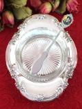 <英国銀器>1930年代:優雅な銀細工♪シルバープレートのバターディッシュ「バターナイフプレゼント付」