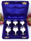 <英国銀器>1930年代:優雅な銀細工♪シルバープレートの英国アンティークの貴重なリキュールカップ「6個セットお箱付」