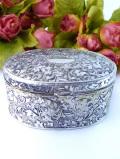 <英国銀器>1940年代:立体的な植物たちの銀細工♪シルバープレートの楕円形の宝石箱
