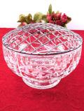 1940年代:銀色の金網♪クリスタルガラスのカットが美しいとても大きなアレンジメントボウル