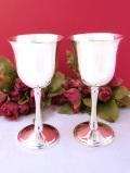 <英国銀器>優雅な銀細工♪シルバープレートの英国ヴィンテージのワインカップ「2個セット」
