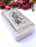 <英国銀器>1930年代:立体的なバラのお花の銀細工♪素晴らしいシルバープレートの宝石箱