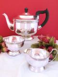<英国銀器>1940年代:「VINERS」優雅なお花たちの銀細工が美しいティーサービス「3点セット」