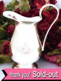 <英国銀器>1940年代:銀細工が美しいヴィクトリアンデザイン♪植物模様の銀細工が優雅な大きいミルクジャグ