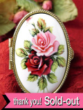 <英国ビンテージ>レア♪カントリーサイドのバラのお花たち♪陶器のふたのピルケース