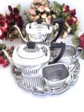 <英国銀器>1930年代:アールデコデザイン♪銀細工が美しいティーサービス「5点セット:銀盆付」