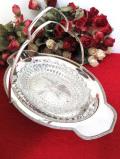 <英国銀器>1950年代:アールデコデザイン♪銀細工が美しいシルバープレートの持ち手付きの台座がついたガラスの大きなお皿